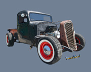 Chevrolet Pickup Truck Posters - 1936 Rat Rod Chevy Pickup Poster by Chas Sinklier
