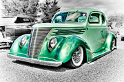 Blue Oval Framed Prints - 1937 Ford Coupe Framed Print by Phil
