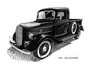Custom Ford Drawings Metal Prints - 1937 Ford Pick Up Truck Metal Print by Jack Pumphrey