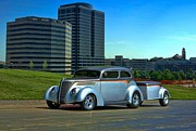 Ford Sedan Prints - 1937 Ford Sedan Hot Rod With Trailer Print by Tim McCullough