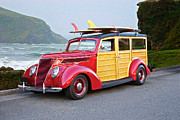 Custom Ford Metal Prints - 1937 Ford Woody Surf Wagon Metal Print by Dave Koontz
