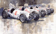 Cars Painting Posters - 1937 Monaco GP Team Mercedes Benz W125 Poster by Yuriy  Shevchuk