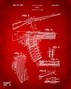 1937 Police Remington Model 8 Magazine Patent Artwork - Red Print by Nikki Marie Smith