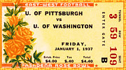 Sports Memorabilia Posters - 1937 Rose Bowl Ticket Poster by David Patterson