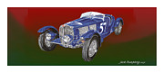 Watercolor Canvas Framed Prints Framed Prints - 1938 Bugatti Type Fifty Seven Framed Print by Jack Pumphrey