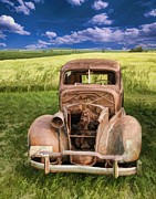 Rusted Cars Framed Prints - 1938 Classic Car in Grass Field Framed Print by JT Studios