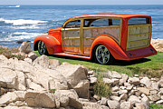 Custom Ford Metal Prints - 1939 Ford Surf Wagon Metal Print by Dave Koontz