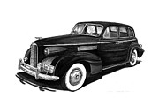 Pen And Ink Framed Prints Prints - 1939 LaSalle sedan Print by Jack Pumphrey