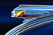 Chrome Photo Framed Prints - 1939 Pontiac Silver Streak Chief Hood Ornament 3 Framed Print by Jill Reger