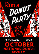 Donut Shop Posters - 1940 Donut Party Poster Poster by Historic Image