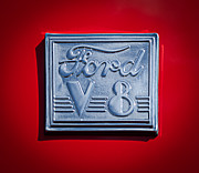 Ford V8 Prints - 1940 Ford Coupe V8 Emblem Print by Jill Reger
