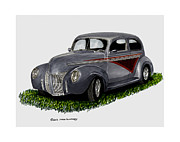 Acrylic Prints Drawings - 1940 Ford Custom Street Rod by Jack Pumphrey