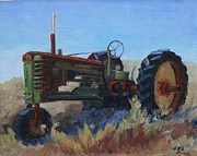 Farm Scenes Originals - 1940 John Deer Tractor by Julia Grundmeier