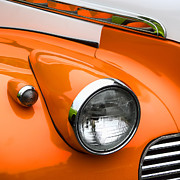 Headlamp Photos - 1940 Orange and White Chevrolet Sedan Square by Carol Leigh