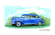 Door Drawings Posters - 1940 Plymouth four door classic Poster by Jack Pumphrey