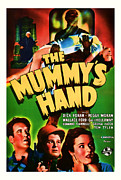 Featured Mixed Media Prints - 1940 The Mummys Hand Vintage Movie Art Print by Presented By American Classic Art