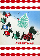 Christmas Dogs Digital Art Prints - 1940 Vintage Christmas Card Print by Munir Alawi
