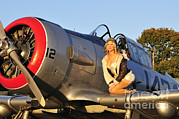 Aircraft Engine Framed Prints - 1940s Style Aviator Pin-up Girl Posing Framed Print by Christian Kieffer