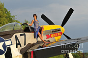 P-51 Mustang Photos - 1940s Style Pin-up Girl Standing by Christian Kieffer