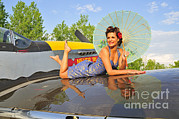 P-51 Mustang Photos - 1940s Style Pin-up Girl With Parasol by Christian Kieffer