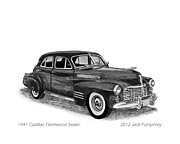 Pen And Ink Framed Prints Framed Prints - 1941 Cadillac Fleetwood Sedan Framed Print by Jack Pumphrey