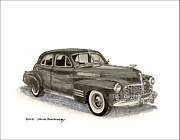 Wash Drawings Framed Prints - 1941 Cadillac Sedan Framed Print by Jack Pumphrey