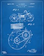 Nikki Marie Smith - 1941 Indian Motorcycle Patent Artwork - Blueprint