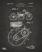 Nikki Marie Smith - 1941 Indian Motorcycle Patent Artwork - Gray