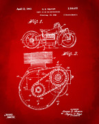 Nikki Marie Smith - 1941 Indian Motorcycle Patent Artwork - Red