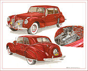 Classic Car Art Drawings - 1941 Lincoln Continental by Jack Pumphrey