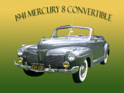 Note Cards Posters - 1941 Mercury Eight Convertible Poster by Jack Pumphrey