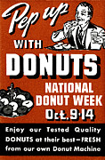 Donut Shop Posters - 1941 Pep Up with Donuts Poster by Historic Image