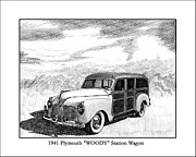 Pen And Ink Framed Prints Drawings Posters - 1941 Plymouth Woody Poster by Jack Pumphrey