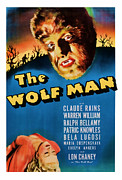 Featured Mixed Media Prints - 1941 The Wolf Man Vintage Movie Art Print by Presented By American Classic Art