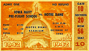 Sports Memorabilia Posters - 1942 Football Ticket Notre Dame vs Iowa Navy Pre-Flight Poster by David Patterson
