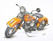 Bicycle Drawings Posters - 1942 Harley Davidson Flathead Poster by Shannon Watts