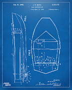 Chris Craft Prints - 1943 Chris Craft Boat Patent Blueprint Print by Nikki Marie Smith