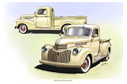 Pick Up Digital Art Posters - 1944 Chevrolet Pick-up Composite Illustration Poster by Greg Eilers