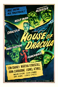 Featured Mixed Media Prints - 1945 House of Dracula Vintage Movie Art Print by Presented By American Classic Art