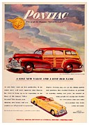 Woodie Car Digital Art - 1946 - Pontiac Woodie Station Wagon and Convertible Advertisement - Color by John Madison