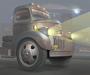 American City Scene Digital Art - 1946 Chevy COE by Stuart Swartz