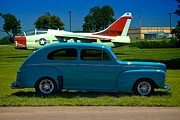 Ford Sedan Prints - 1946 Ford Sedan in front of A7 Corsair Print by Tim McCullough