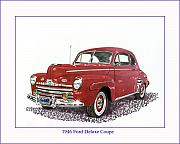 Old Fords Posters - 1946 Ford Special Deluxe Coupe Poster by Jack Pumphrey
