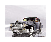 Classic Car Art Drawings - 1946 Lincoln Continental Cabroliet by Jack Pumphrey
