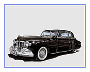 American Cars Drawings Posters - 1946 Lincoln Continental MK 1 Poster by Jack Pumphrey
