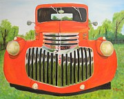 Street Rod Paintings - 1946 Red Chevy Truck by Dean Glorso