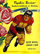 Usc Posters - 1946 Rose Bowl Program Poster by David Patterson