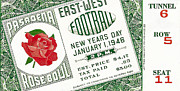 Sports Memorabilia Posters - 1946 Rose Bowl Ticket - USC vs Alabama Poster by David Patterson