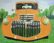 Street Rod Paintings - 1946 Yellow Chevy Truck by Dean Glorso