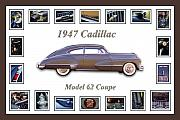 Old Car Art Posters - 1947 Cadillac Model 62 Coupe Art Poster by Jill Reger